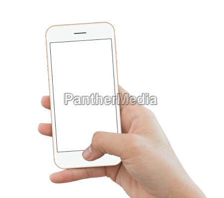 closeup hand use phone gold color