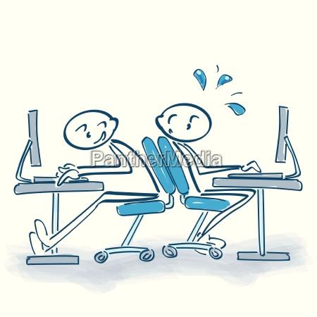 stickfigure com a cadeira do escritorio
