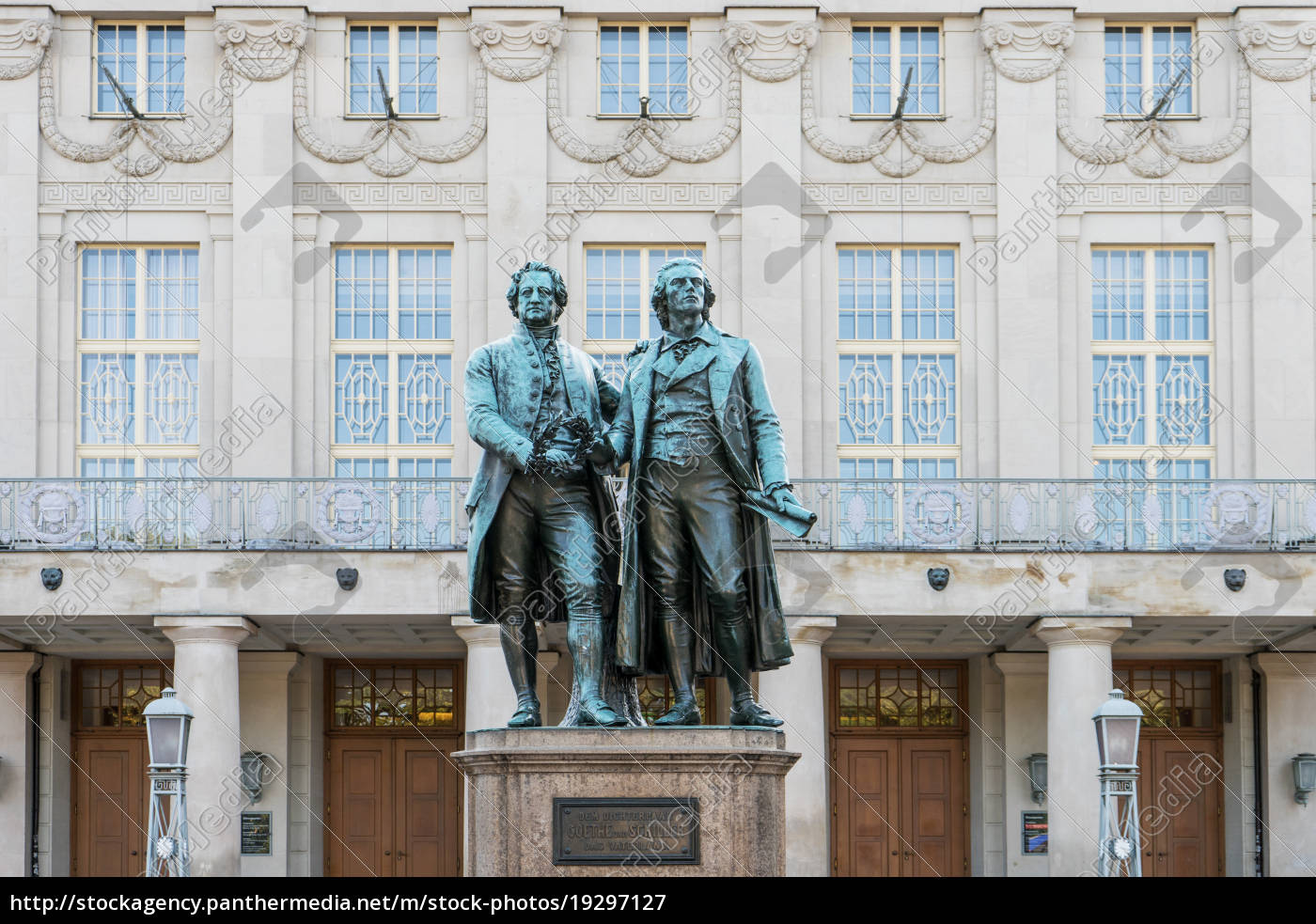 monument, to, goethe, and, schiller, before - 19297127