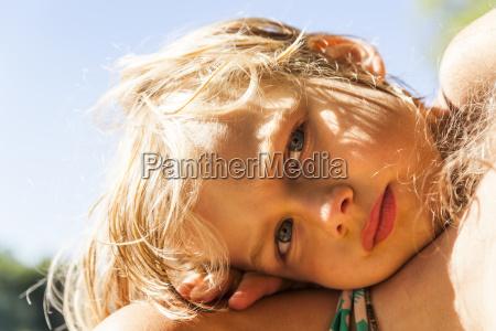 portrait of little boy with head