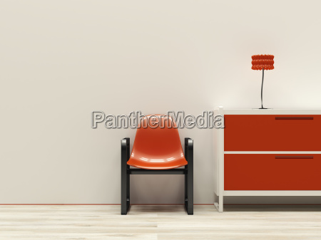 red retro style interieur 3d rendering