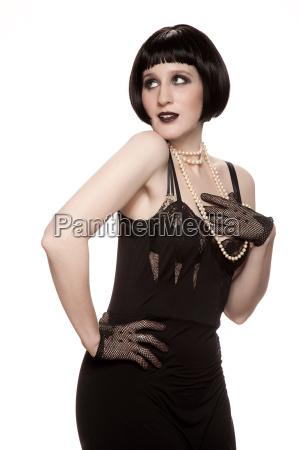 mulher, adulta, em, pleno, vestido, preto - 19460678