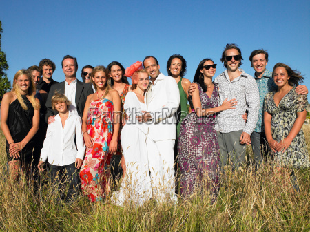 married couple with a group of