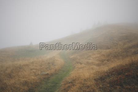 misty mountain path flaine french alps
