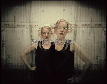portrait of two women in lift