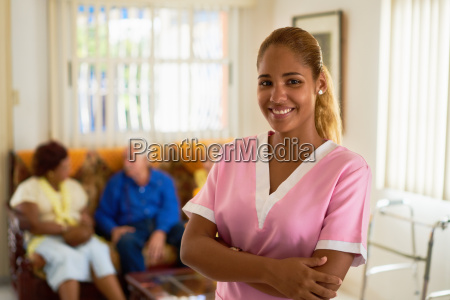 happy and confident woman at work