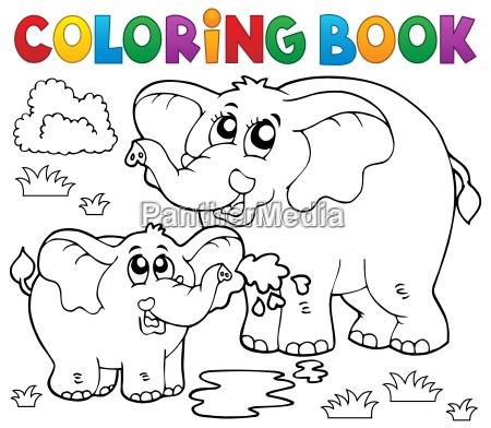 elefantes alegres do livro de coloracao