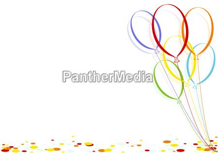 baloes coloridos do confetti e do