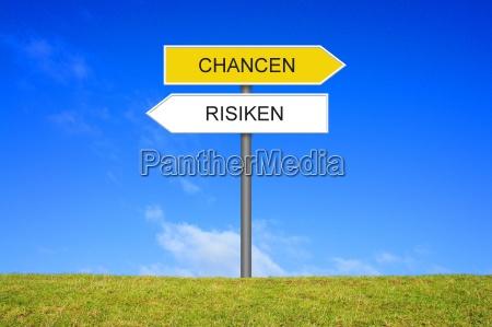signpost do sinal mostra oportunidades e