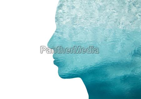 mulher perfil azul pessoas povo homem