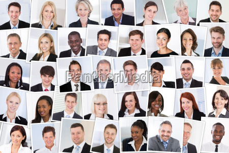 group of smiling businesspeople