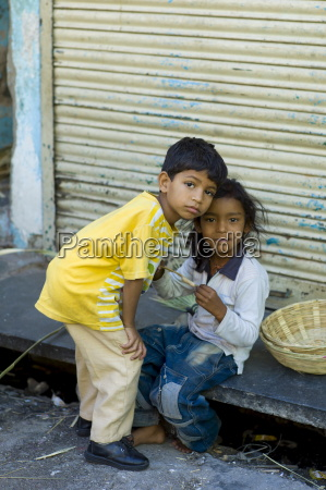 indian children in the street in