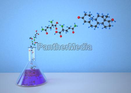 garrafa conica com estrutura molecular de