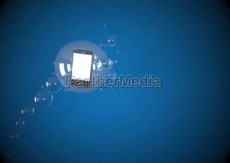 ilustracion de movil flotando en burbujas