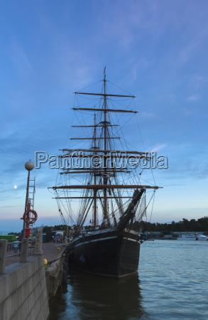 finland helsinki moored sailing ship at