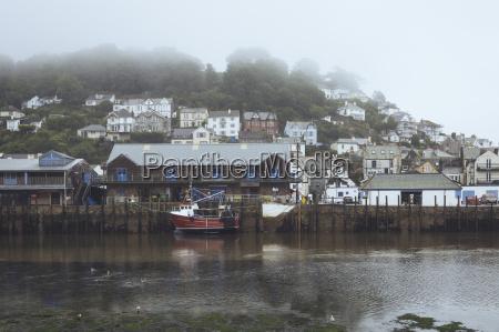 uk cornwall looe fishing boat at