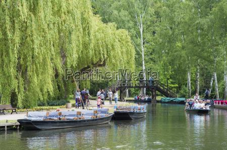 germany brandenburg luebbenau spreewald boats at