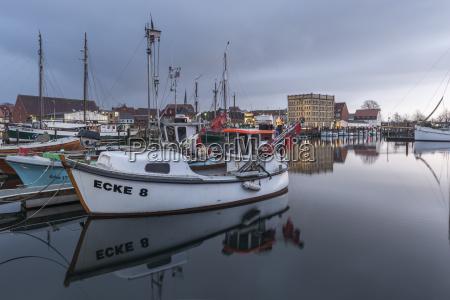 germany eckernfoerde fishing boats in harbor