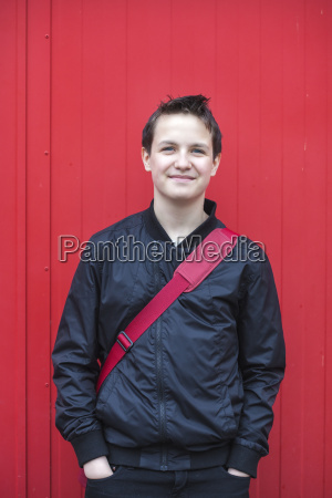 portrait of smiling teenage boy with