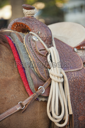 usa texas western saddle with rope