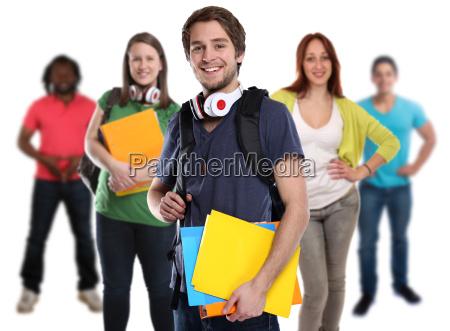 gruppo di studenti giovane donna ridere