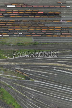 aerial view of freight train carriages