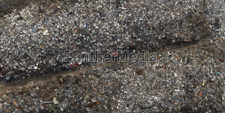 directly above view of scrap metal