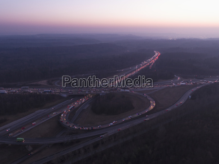 aerial view of intersecting highways amidst