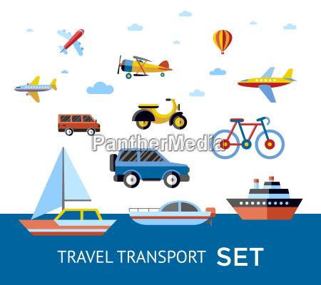 icones de transporte de viagens de