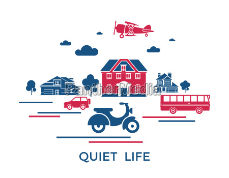 icones de transporte cidade azul vermelho