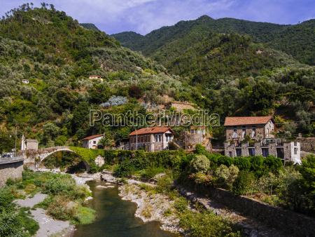 bridge and river in badalucco italy