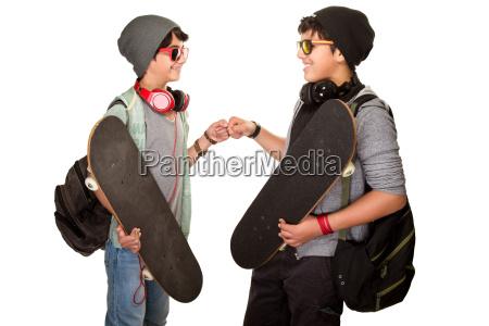 two happy teen boys