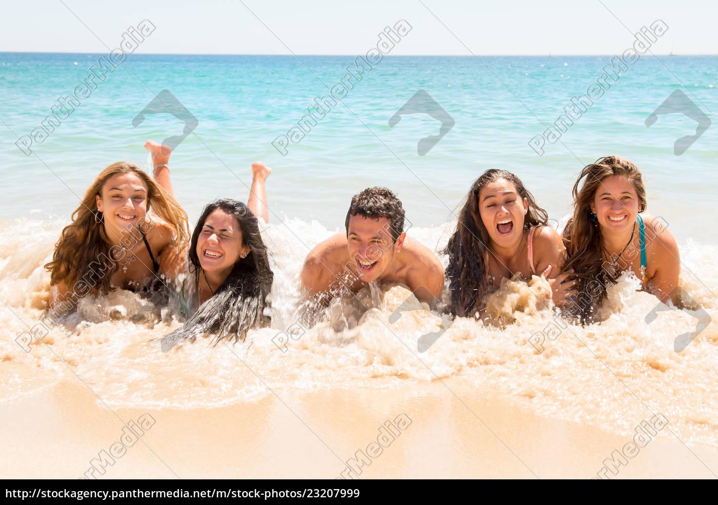 pessoas, se, divertindo, no, mar. - 23207999