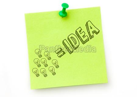 doodle verde da ideia na nota