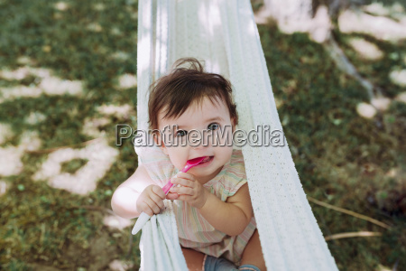 portrait of hungry baby girl with