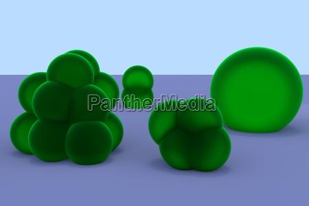 verde fundida celulas agrupados pilha