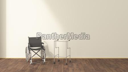 sedia a rotelle illustrazione cura ospedale
