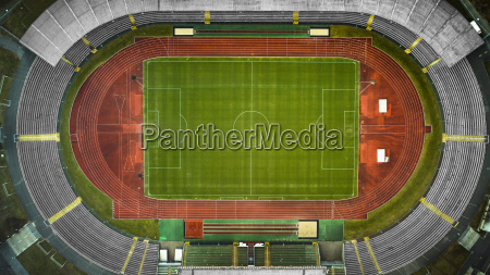 aerial view of empty soccer field