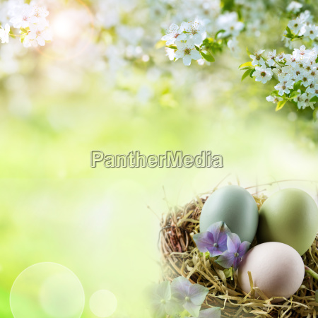 spring landscape with easter eggs in