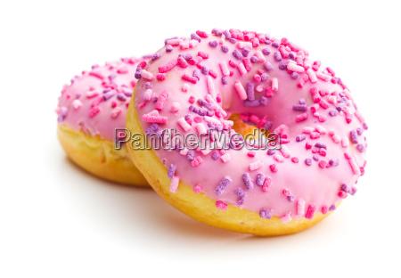 donuts doces cor de rosa