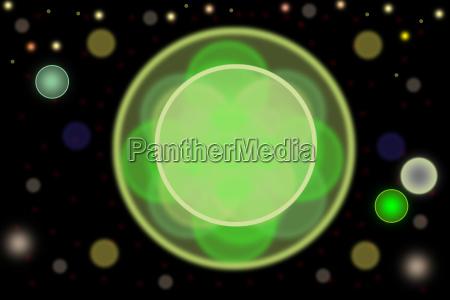 bokeh abstrato com circulo verde no