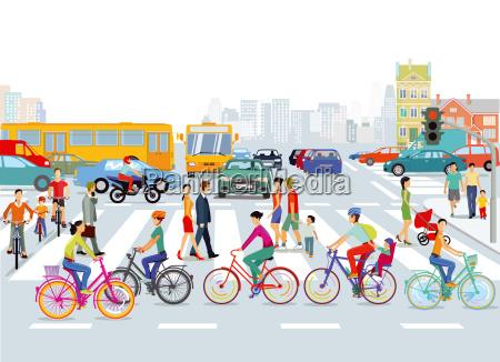 cidade com trafego estrada ciclistas e