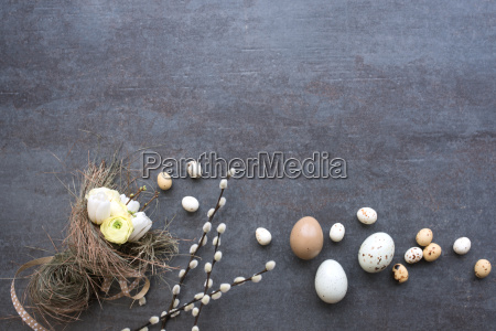 easter eggs catkins and a tied