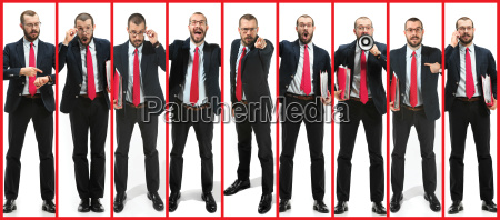 collage about handsome young bearded man
