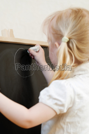 black board with little girl