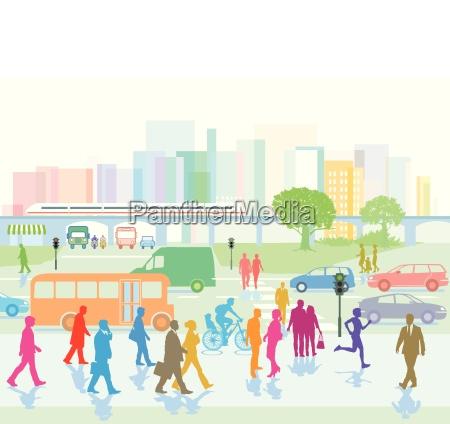 cidade grande com pessoas na cidade