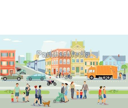 cidade com pedestres e trafego ilustracao