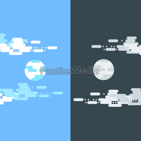 day and night vector flat illustrations