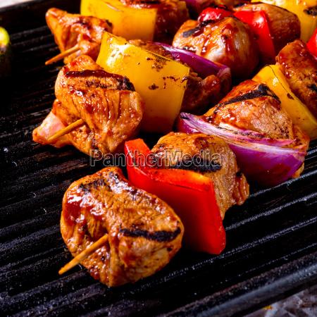 rustic shish kebab skewers with marinated