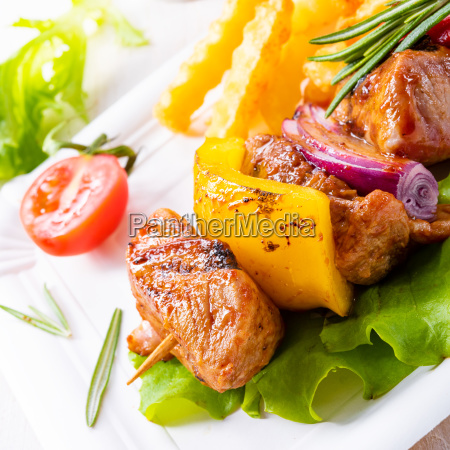 shish kebab skewers with marinated ham